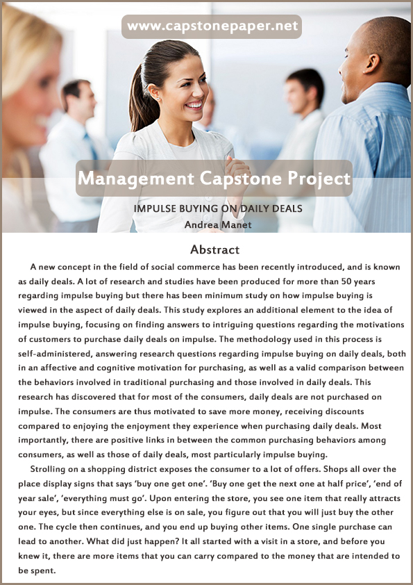 management capstone paper sample