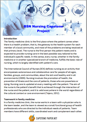 BSN nursing capstone project example