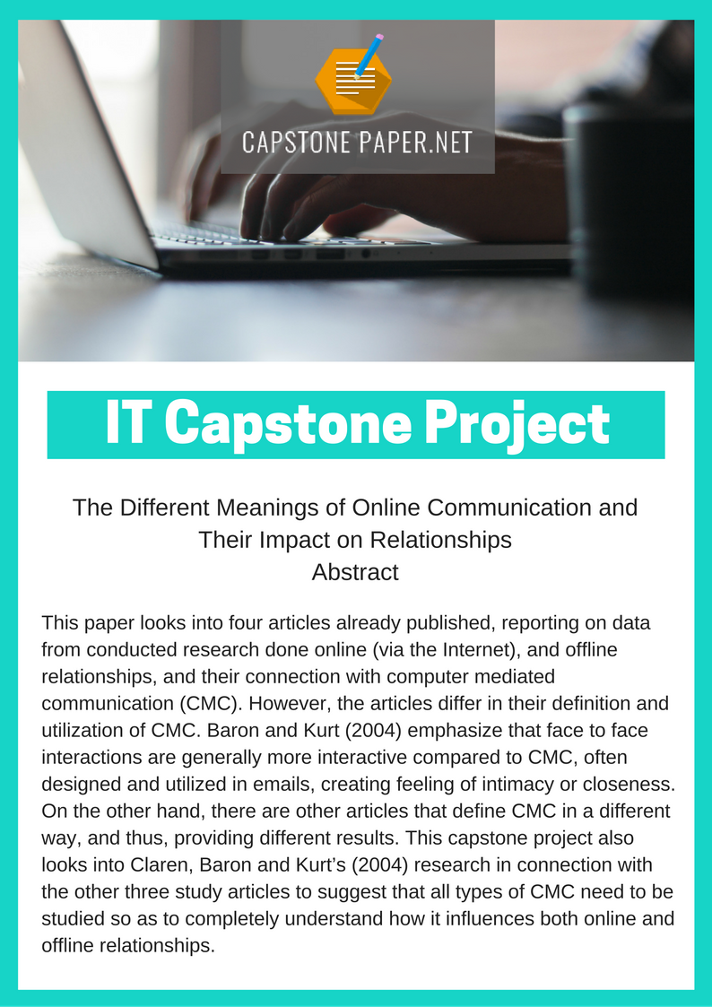 proposed capstone project The capstone project that concludes each semester gives students the chance to   that end product takes a variety of forms — a letter to the editor, a draft.